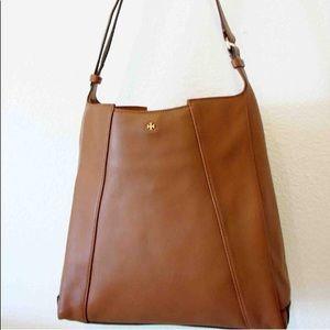 Tory Burch Cass Leather Hobo Bag Tan